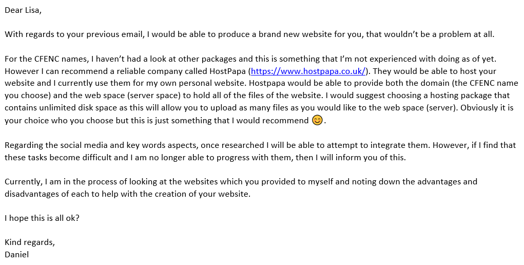 My Response to the Clients' Response