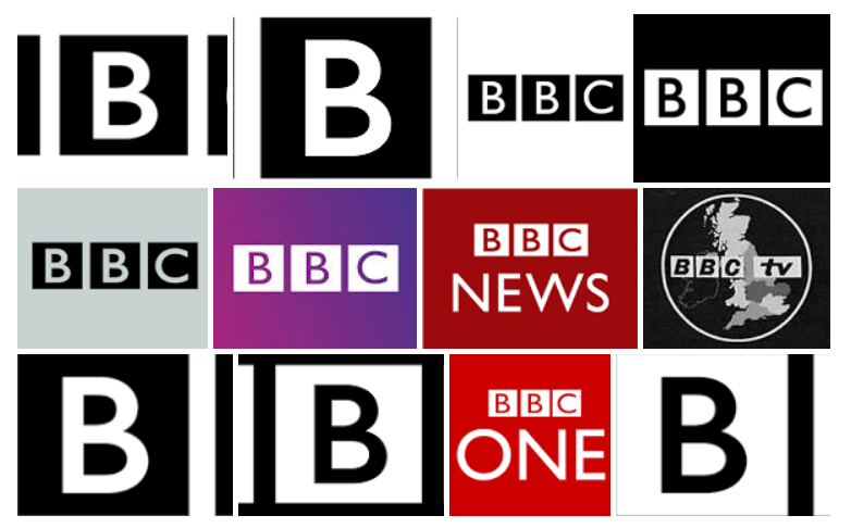 The Different 'BBC' Logos Viewed through 'Google'