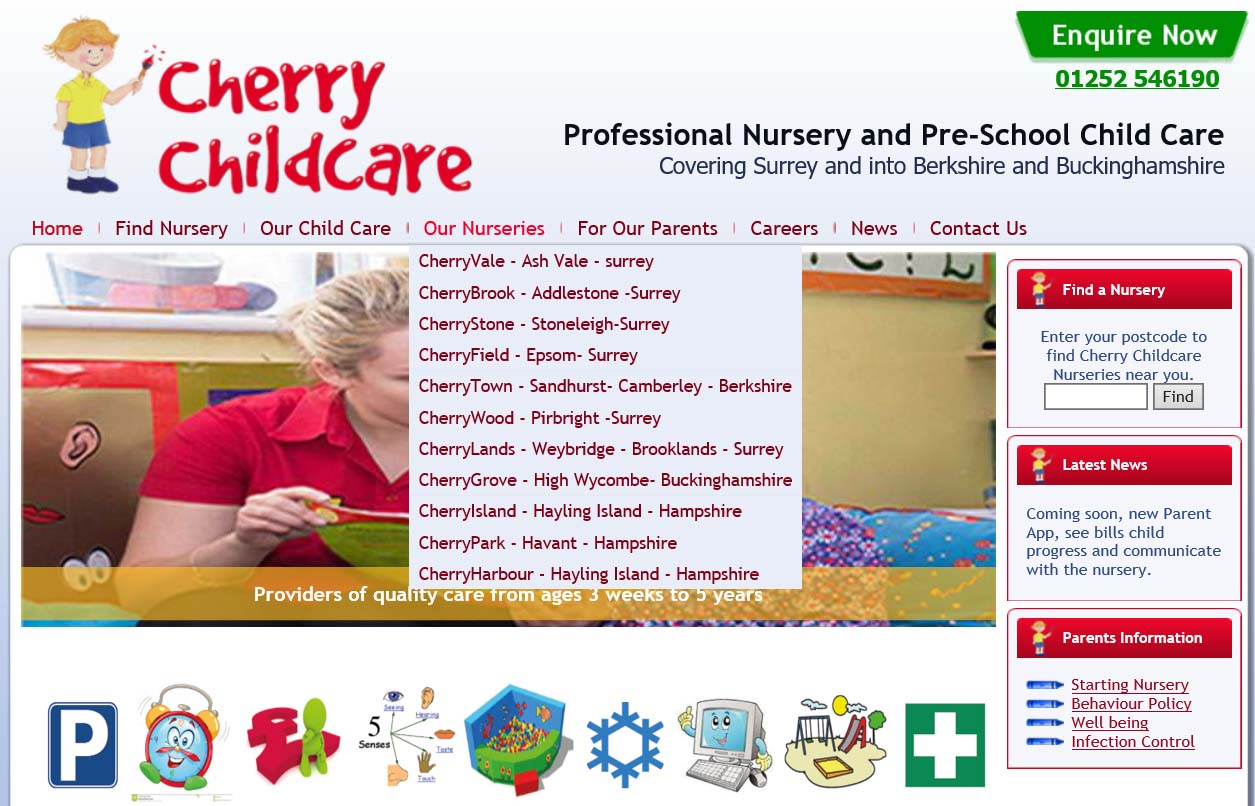 Example 1 of the Previous 'Cherry Childcare' Website