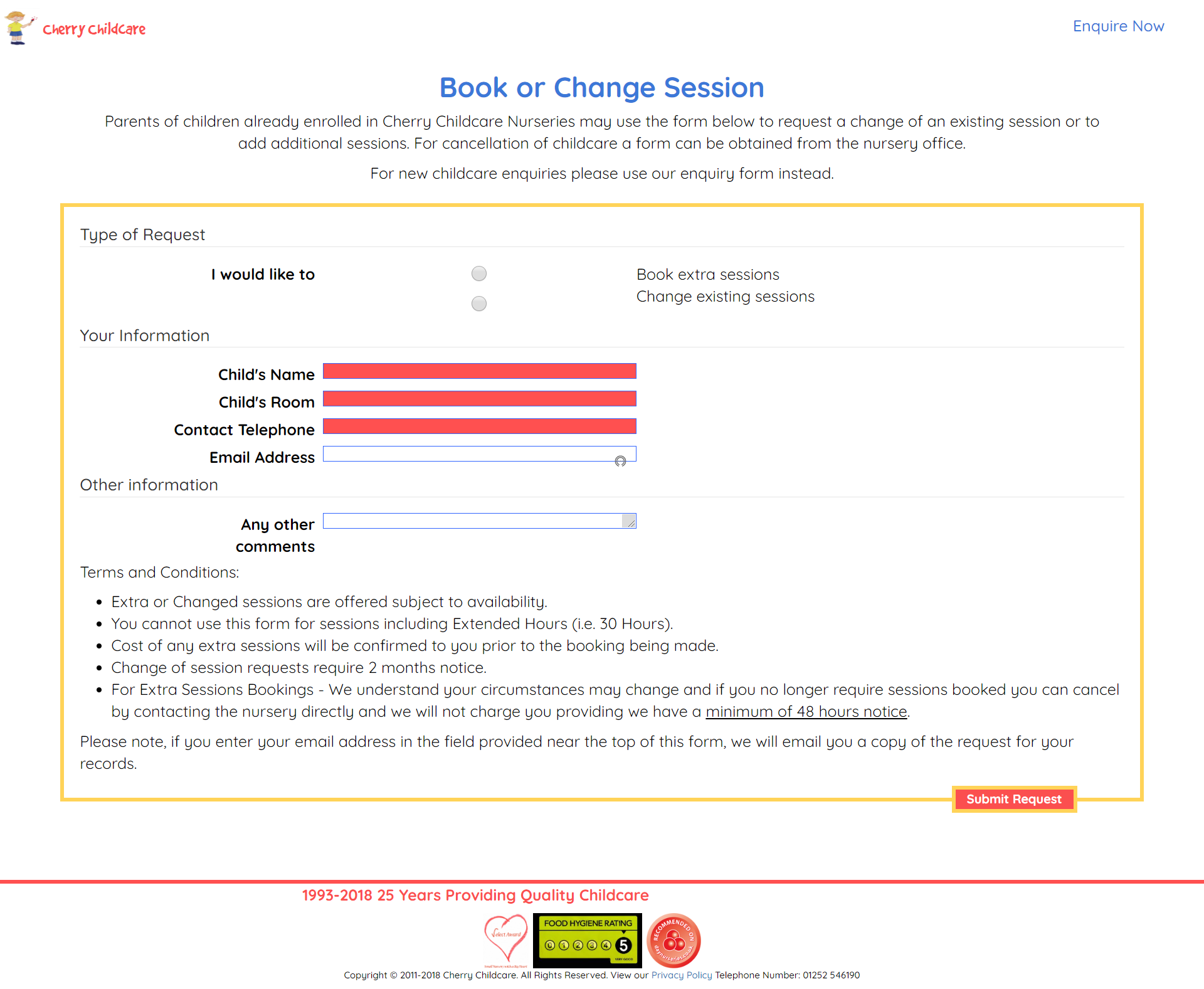 The Individual Nursery Change Sessions Form Page ('CherryVale' Example)