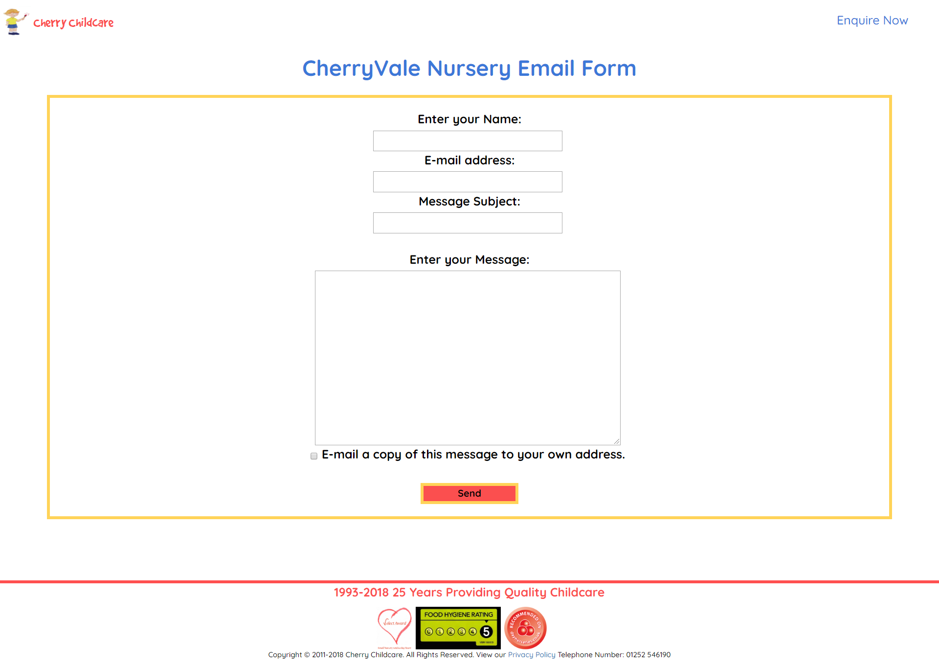 The Individual Nursery Email Form Page ('CherryVale' Example)