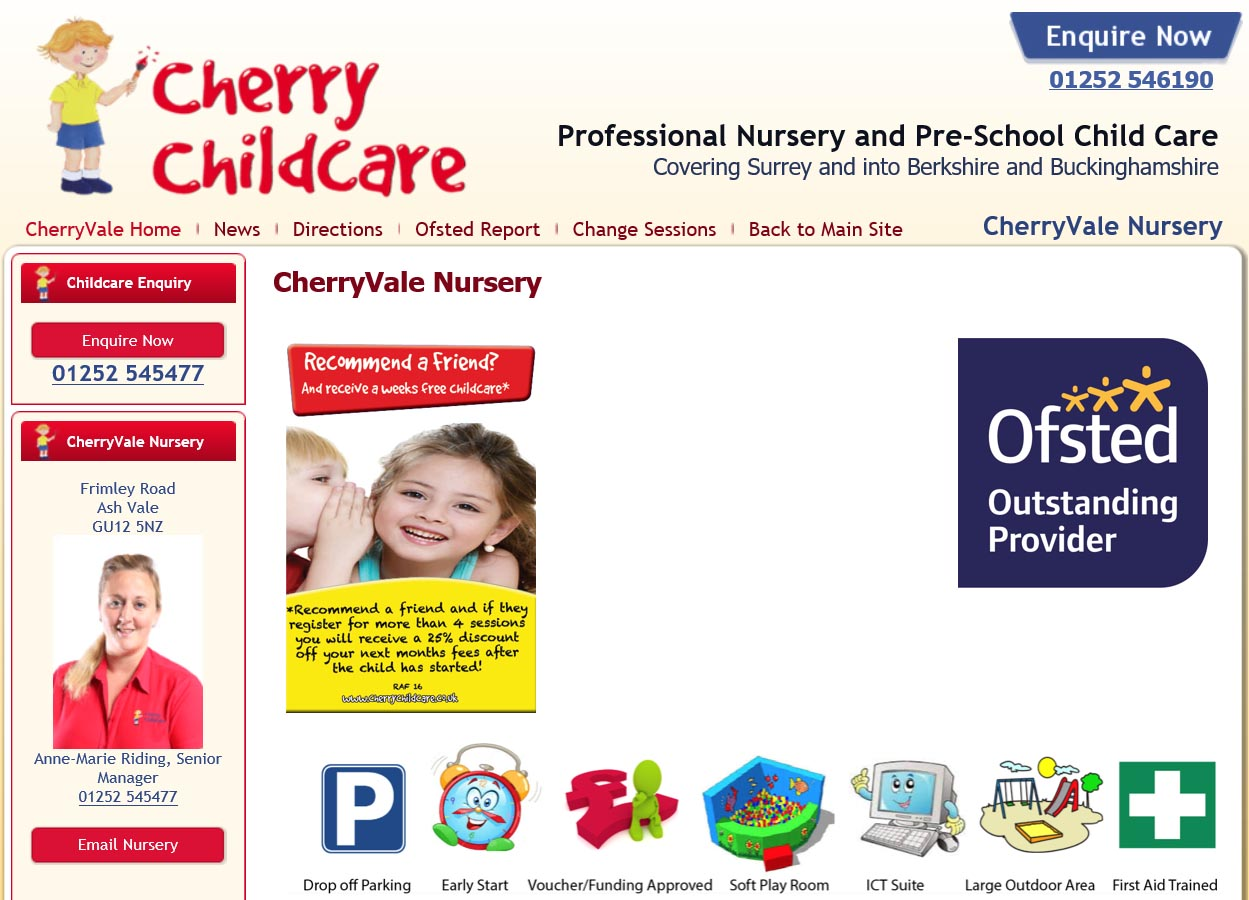 Example 2 of the Previous 'Cherry Childcare' Website