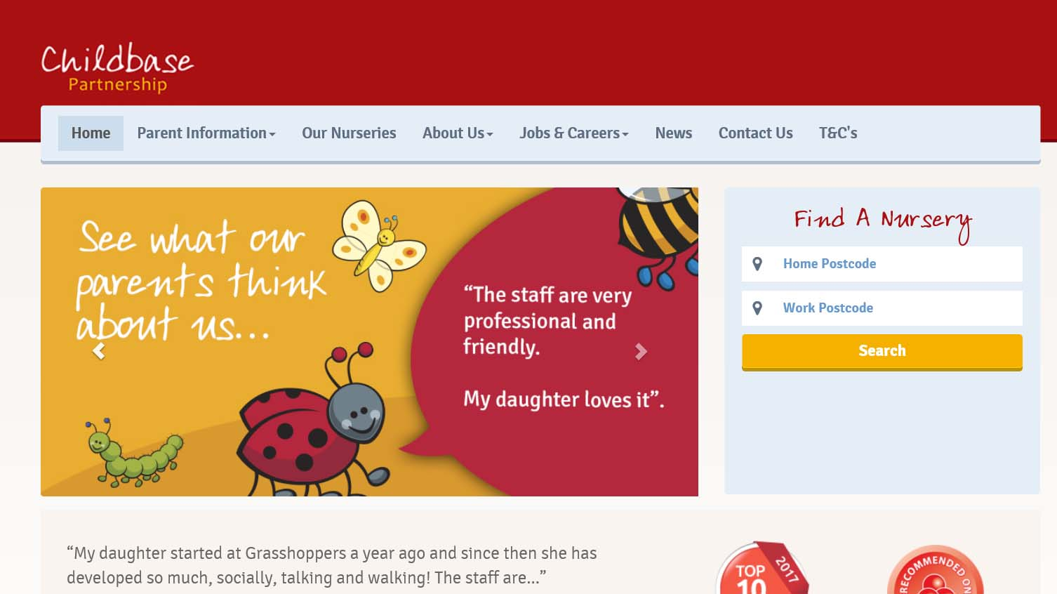 An Example of the 'Childbase Partnership' Website