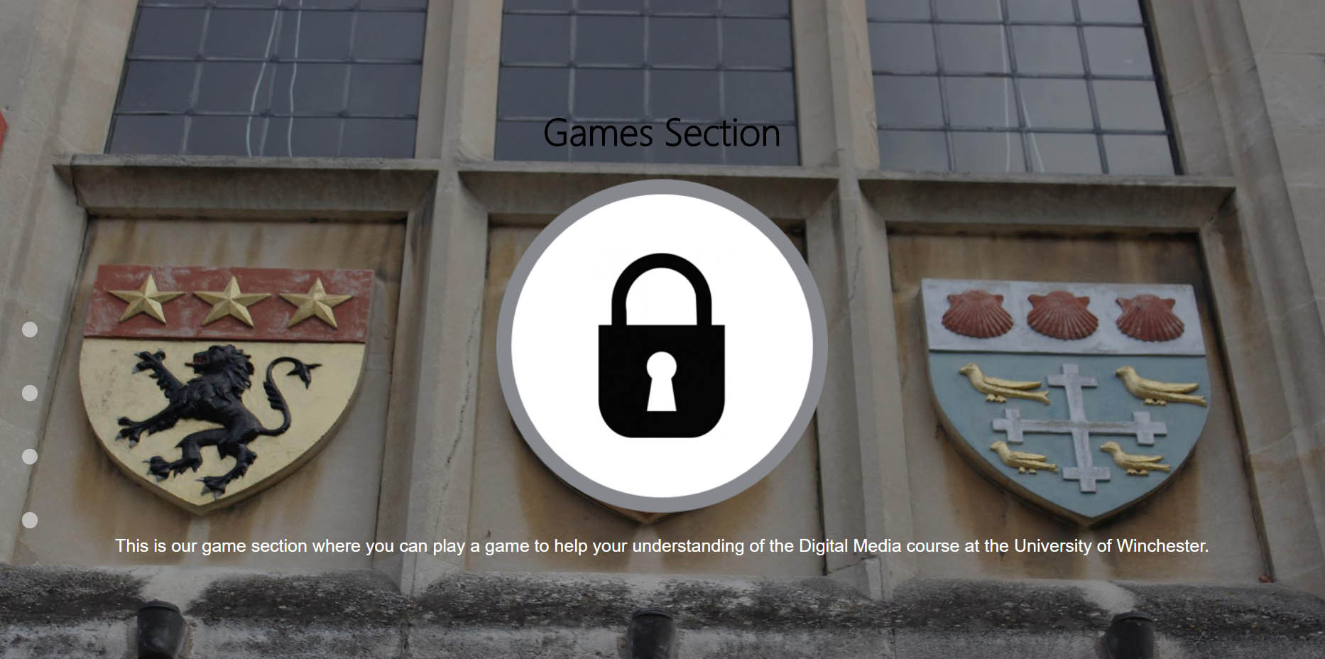 The Game Section of the Website