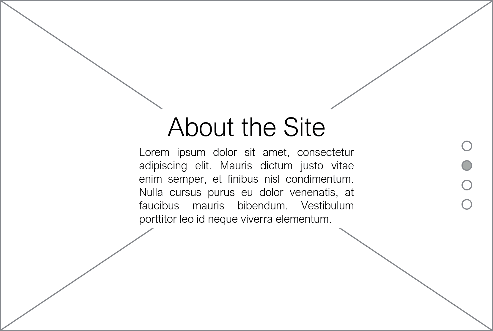About the Website Section Desktop Wireframe