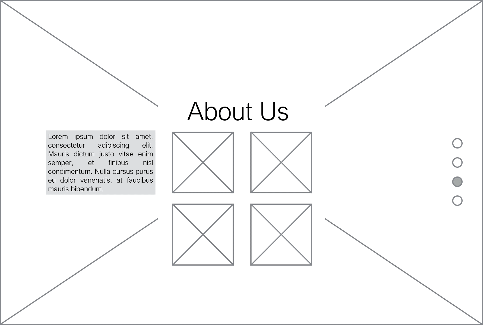 About Us Section Desktop Wireframe