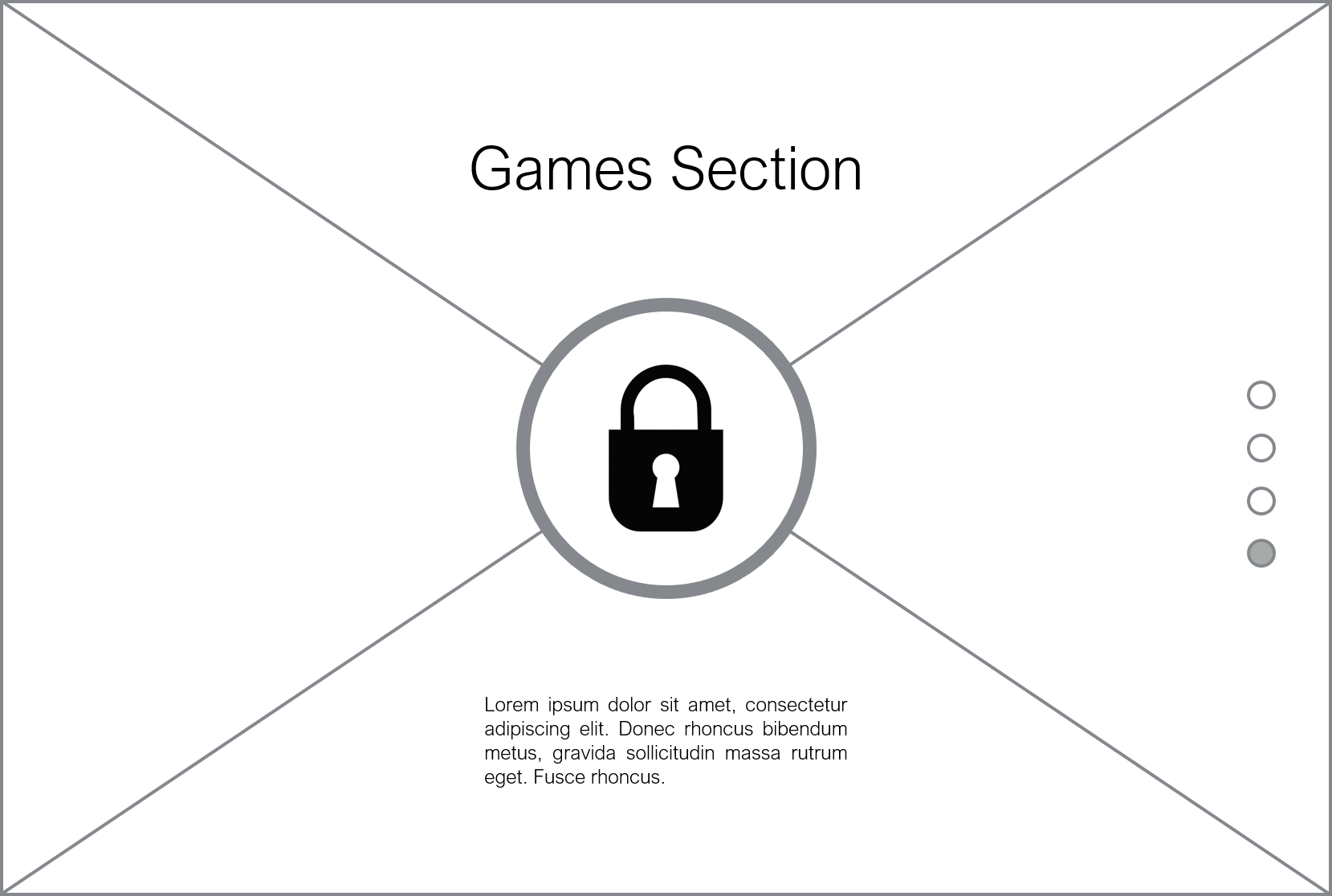 Game Section Desktop Wireframe