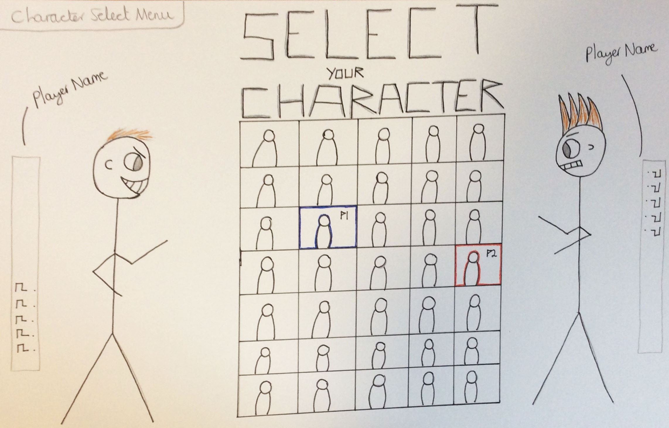 The Third Created Design for the Character Select Menu