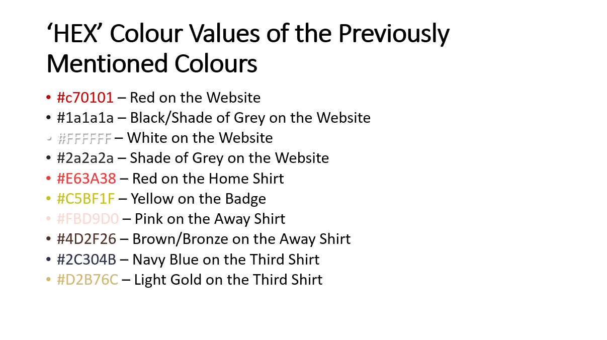 Listing the 'HEX' Values of the Colours Utilised
