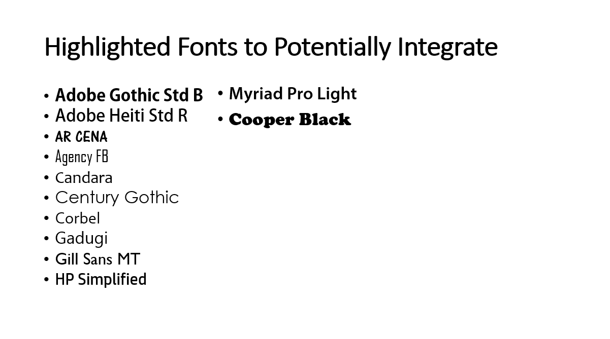 Highlighted Heading Fonts to Potentially Utilise