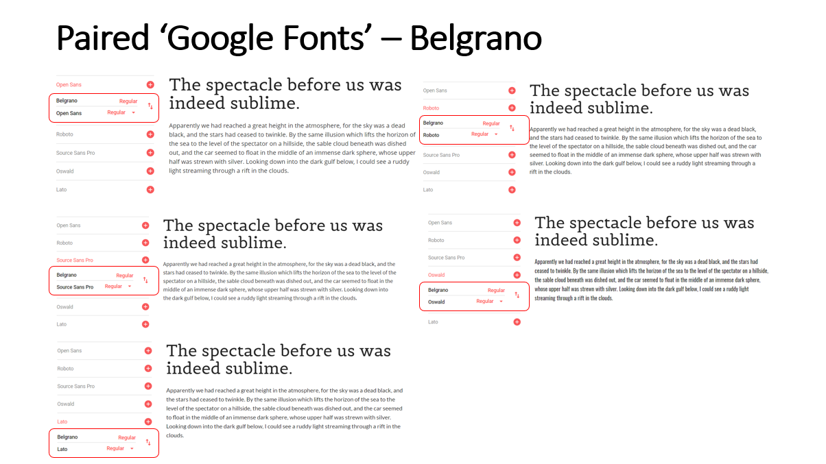 Highlighted Paired Fonts for the 'Belgrano' Font