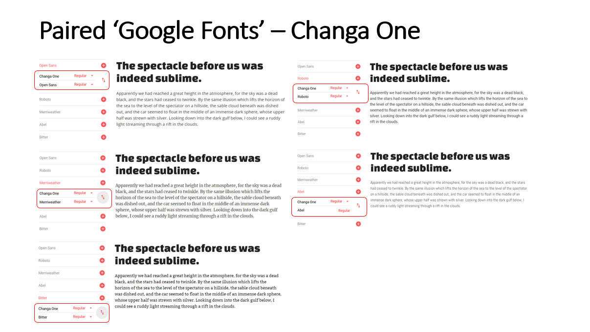 Highlighted Paired Fonts for the 'Changa One' Font