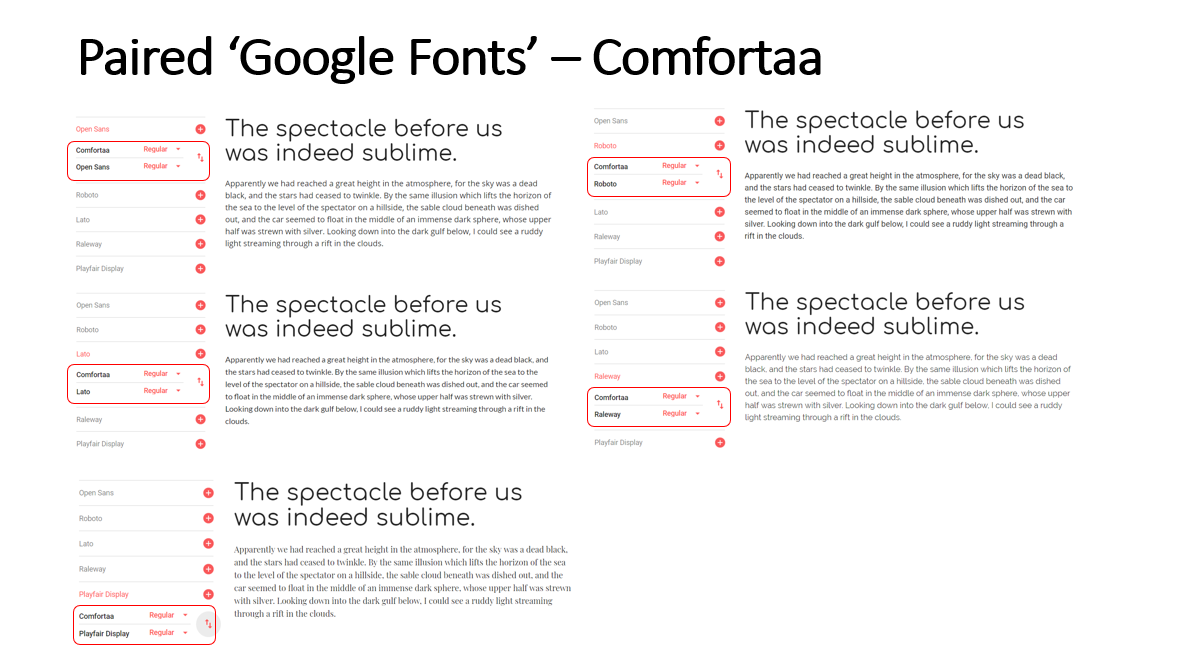 Highlighted Paired Fonts for the 'Comfortaa' Font