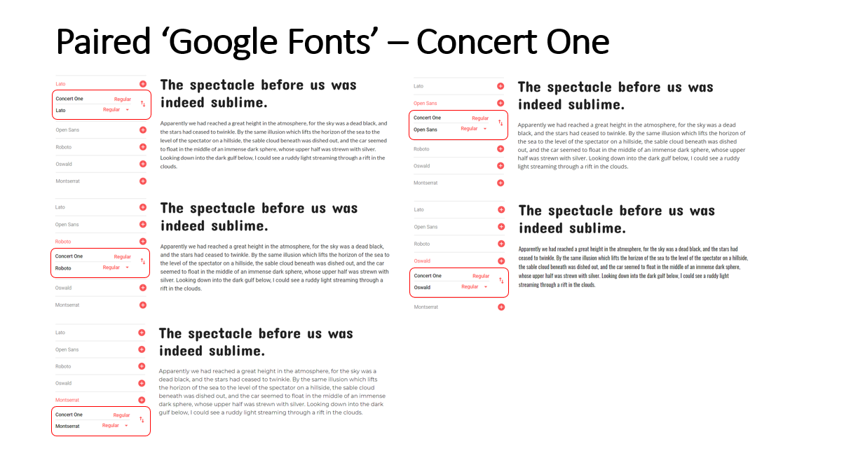 Highlighted Paired Fonts for the 'Concert One' Font
