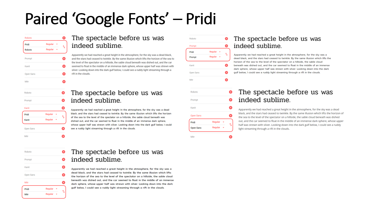 Highlighted Paired Fonts for the 'Pridi' Font