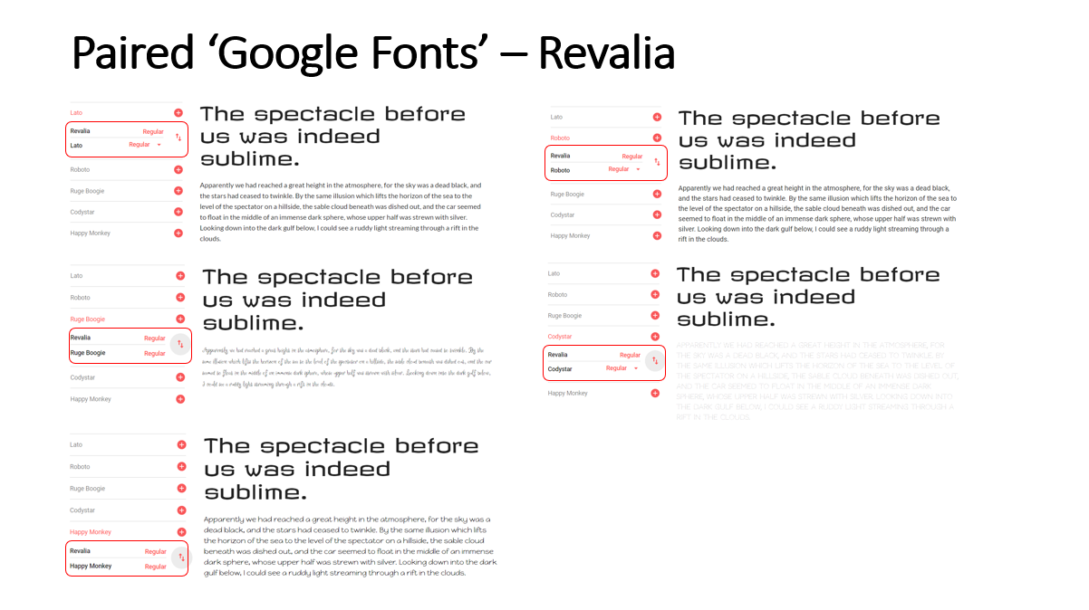 Highlighted Paired Fonts for the 'Revalia' Font
