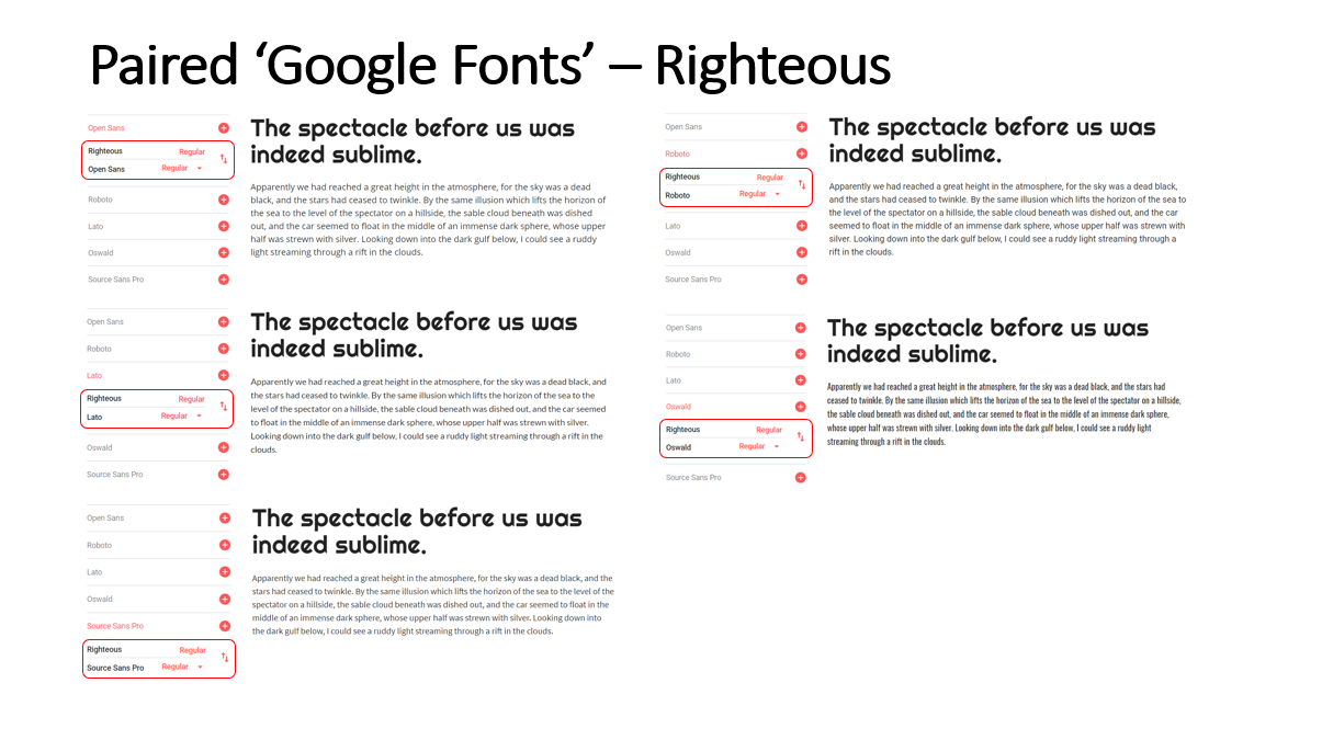 Highlighted Paired Fonts for the 'Righteous' Font