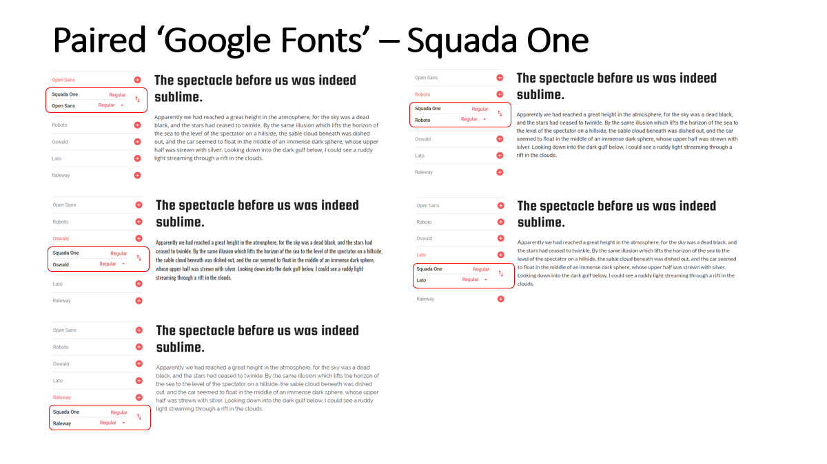 Highlighted Paired Fonts for the 'Squada One' Font