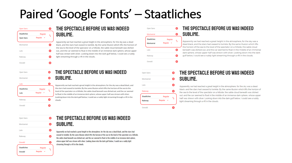 Highlighted Paired Fonts for the 'Staatliches' Font