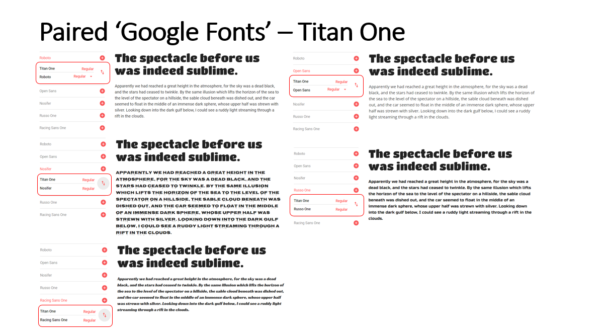 Highlighted Paired Fonts for the 'Titan One' Font