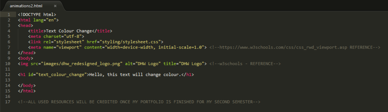 The 'HTML' Code for Example 1