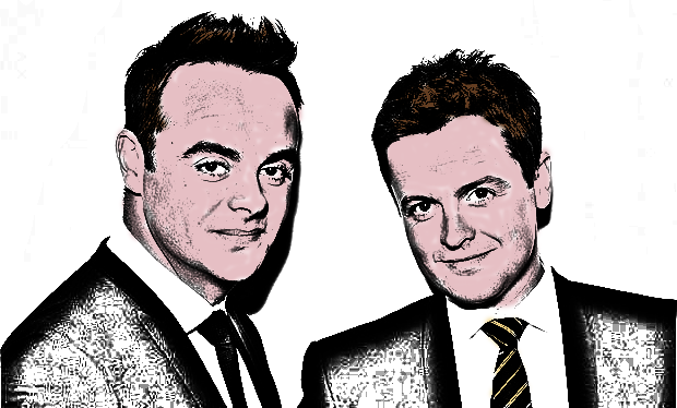 The Created Cartoon/Sketch Version of the Ant and Dec Image